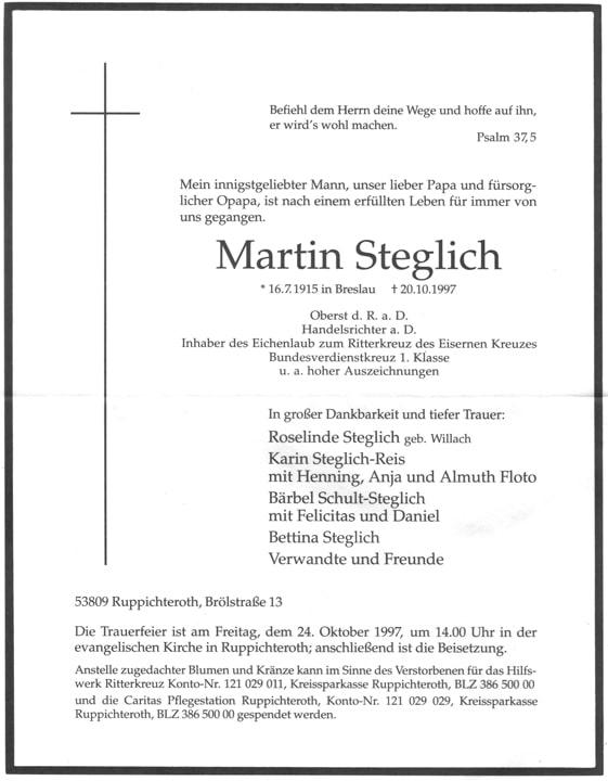 Knights Cross with Oak Leaves, Oberst Martin Steglich
