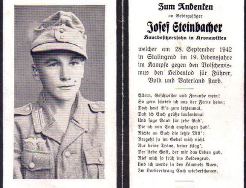 Remembrance Card of Soldier Who Died at Stalingrad