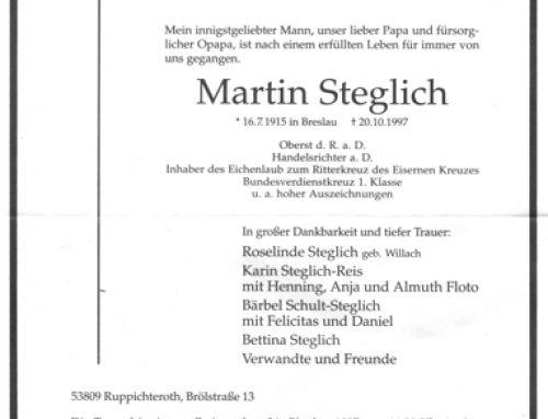 Ich hatt' einen Kameraden – Martin Steglich