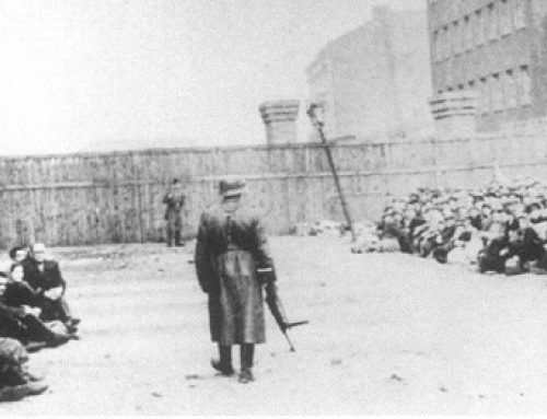 SS and Ukrainian Soldier Guarding Jews at the Umschlagplatz