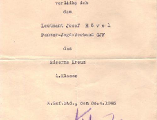 Vorläufige Besitzurkunde Eiserne Kreuz 1. Klasse