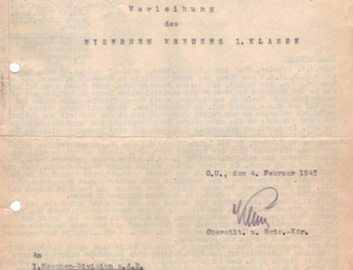 Vorschlag Verleihung Eisernen Kreuzes 1. Klass (1. seite)