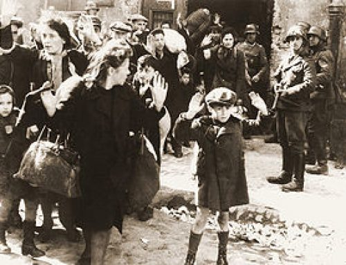 SS Troops Round Up Non-Combatants at Warsaw Ghetto